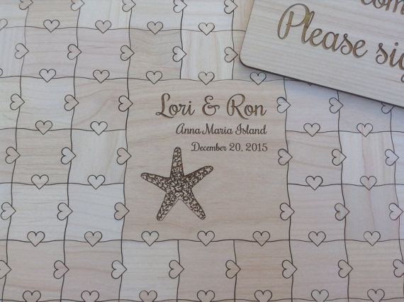 60 pcs Beach Wedding Guest Book Puzzle by NorthernOwlCreations