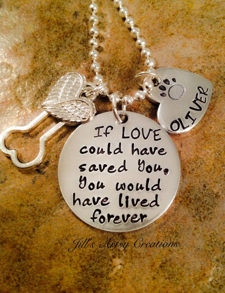 Pet Loss Necklace, Dog, Cat Loss Necklace, If Love Could Have Saved You Necklace, Pet Memorial Jewelry, Aluminum Jewelry by JillsArtsyCreations on Etsy
