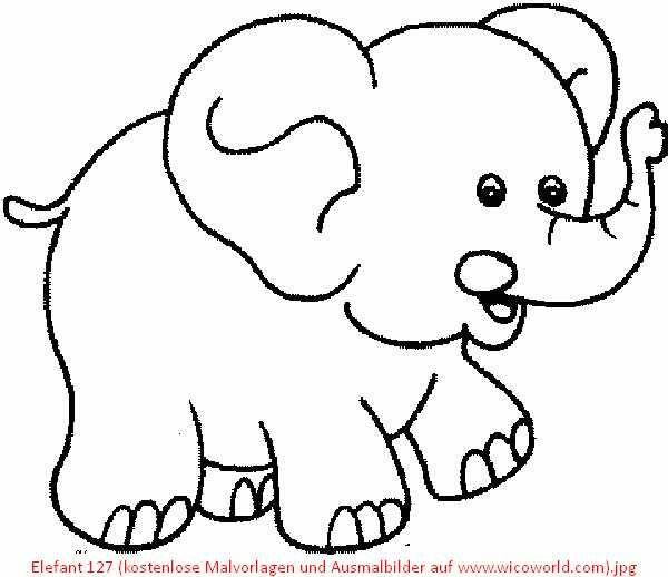 Elefant 127 Kostenlose Malvorlagen Und Ausmalbilder Auf Www Wicoworld Com Jpg 600 518 Elefant Ausmalbild Elefant Schnittmuster Fur Stofftiere