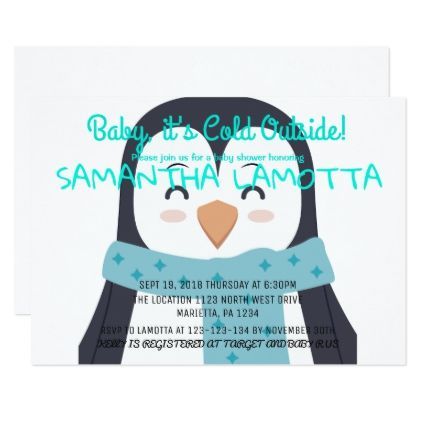 Baby its cold outside penguin baby shower invitation in 2018 baby its cold outside penguin baby shower invitation winter gifts style special unique gift ideas filmwisefo