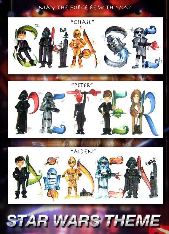 Star Wars Name Painting Darth Vader Jedi Luke by Legendbrush. Chase. Peter. Aiden. #Starwars