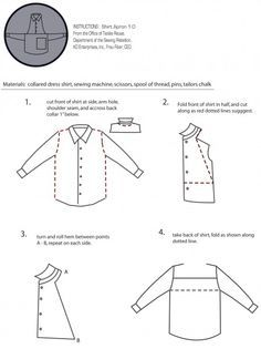 detailed instructions on how to make an apron from a man's shirt