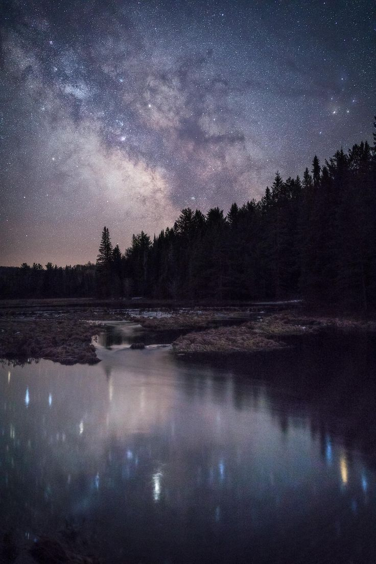 Catching night sky reflections in Algonquin Provincial Park Canada [OC][2000x3000]