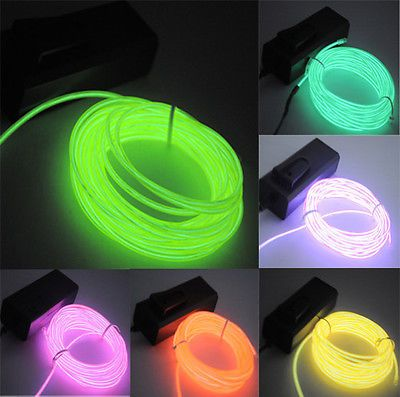 5M/16ft Neon EL Wire LED Light Glow Rope Tube Dance Party Car Decor 10 Colors