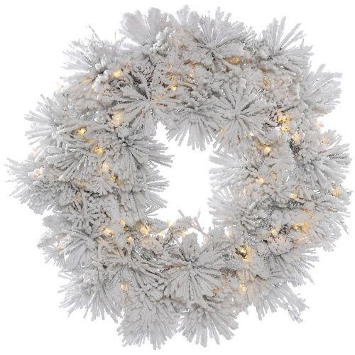 Vickerman 36 in. Flocked Alberta Pre-Lit Wreath with 100 Warm White Lights
