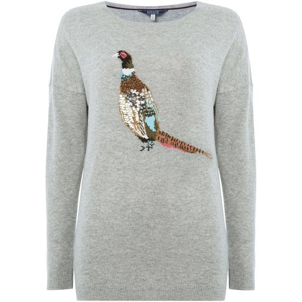 Joules Drop Shoulder Embellished Intarsia Jumper ($68) ❤ liked on Polyvore featuring tops, sweaters, clearance, grey, joules tops, grey wool sweater, intarsia sweater, gray wool sweater and drop shoulder tops