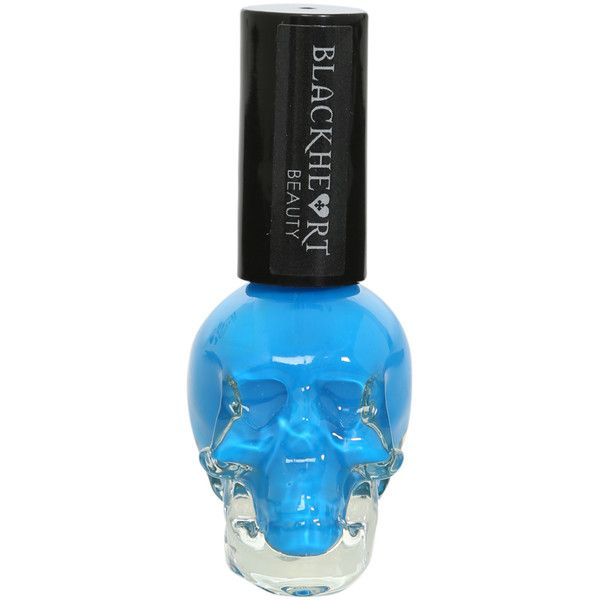 Blackheart Neon Blue Nail Polish | Hot Topic ($2.97) ❤ liked on Polyvore featuring beauty products, nail care, nail polish, nails, makeup, beauty and fillers