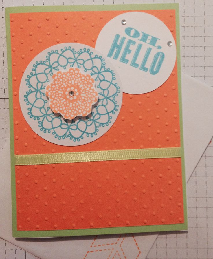 Delicate Doilies and Oh, hello stamps, Polka dot Embossing folder from Stampin' up!
