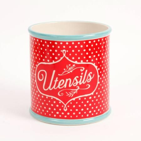 "The Pioneer Woman Flea Market 7"" Polka Dot/Turquoise Utensil Crock - Walmart.com"