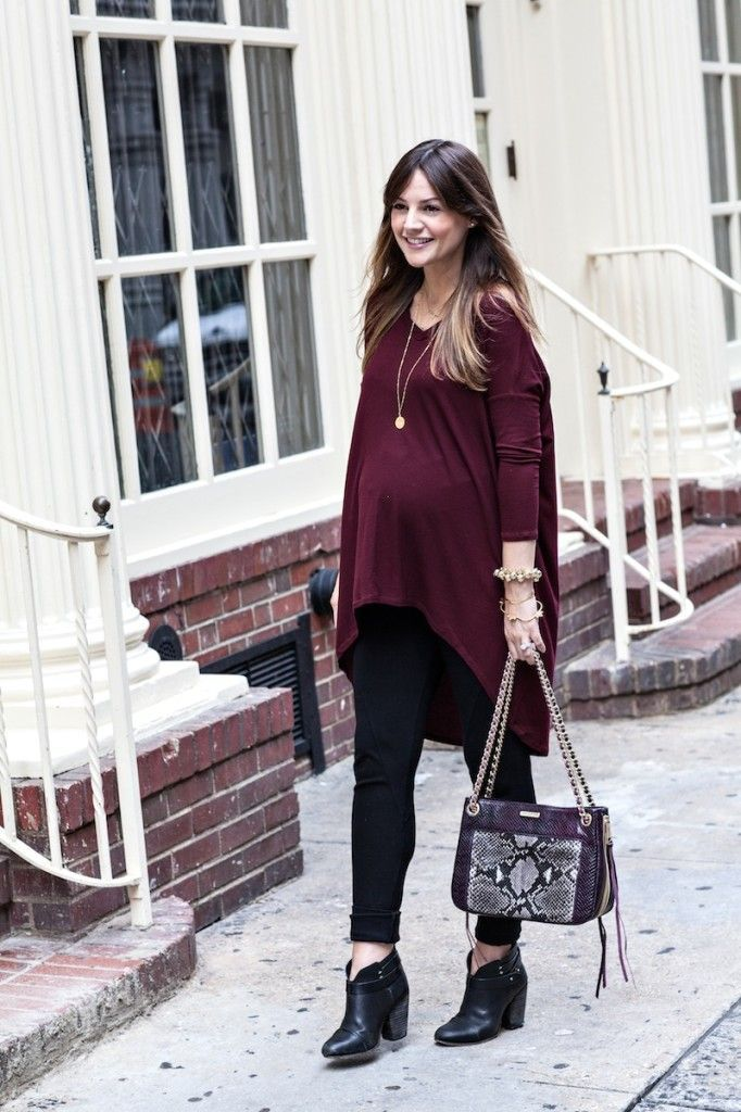 Burgundy is one of the key shades for autumn. Pair a loose, tunic top with black leggings and snakeskin accessories for a chic maternity look. #newlook