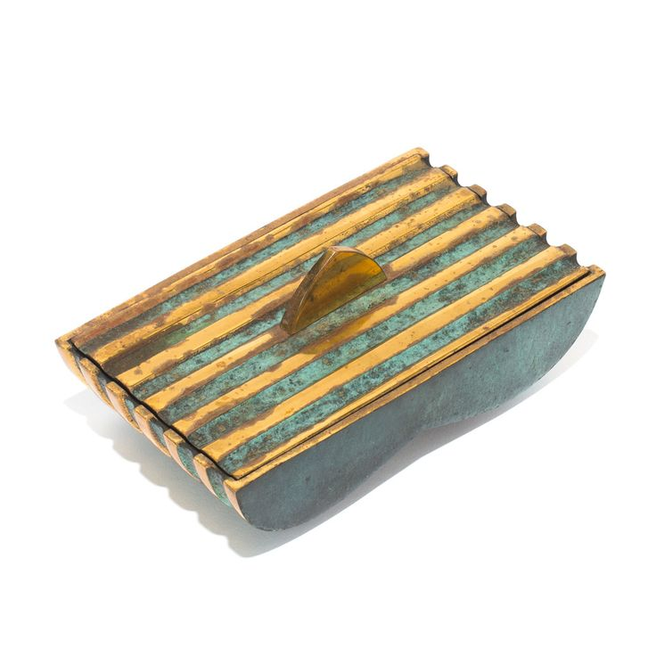 "Designed by Maurice Ascalon, this vintage bronze box is made from solid bronze. It features a bronze stripe design and Pal-Bell's signature ""verdigris"" green pa"