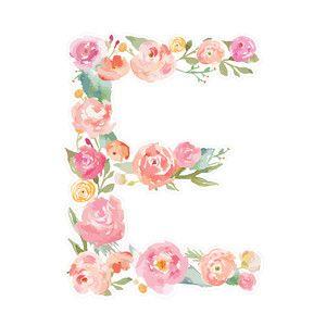 Silhouette Design Store - View Design #172585: floral monogram letter e