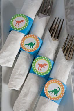 Dinosaur Birthday Party - Napkin Rings - Silverware Wraps - Dinosaur Decorations in Green & Blue (12)