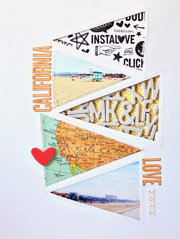 Inspiration - travel journal diary cover layout with banners, maps, photos. #papercraft #scrapbook #layout  Sunday Scrapper - Mandy Koeppen