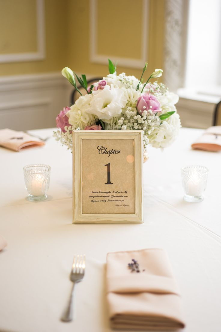 "Pride and Prejudice themed wedding. Table numbers are ""chapters"" with quotes from the book. Colors are lavender and gold."