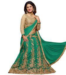 Buy Green embroidered net unstitched lehenga-choli lehenga-choli online