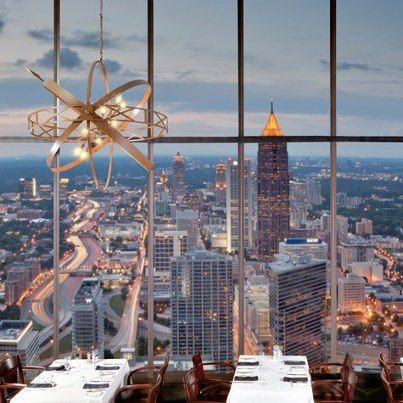 View from the Sun Dial Restaurant, atop the Westin Peachtree Plaza Hotel; The Sun Dial Restaurant, Bar,  View is Atlanta's only tri-level dining complex featuring a revolving upscale restaurant, a rotating cocktail lounge, and an observatory View Level offering a breathtaking 360-degree panorama of the magnificent Atlanta skyline.