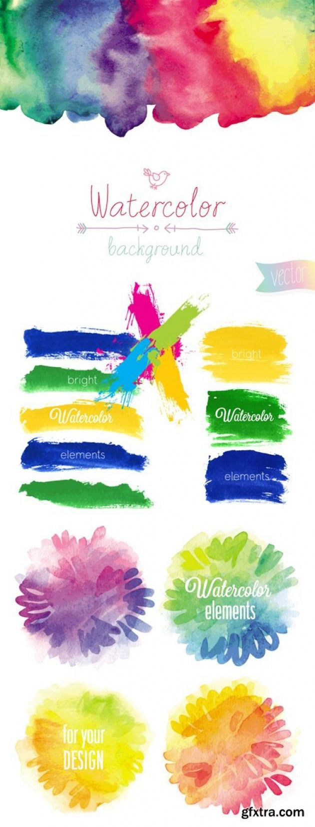 Vector bunting flags lovely celebration card with colorful paper - Watercolor Banners Backgrounds Vector Http Scriptnull Com Watercolor
