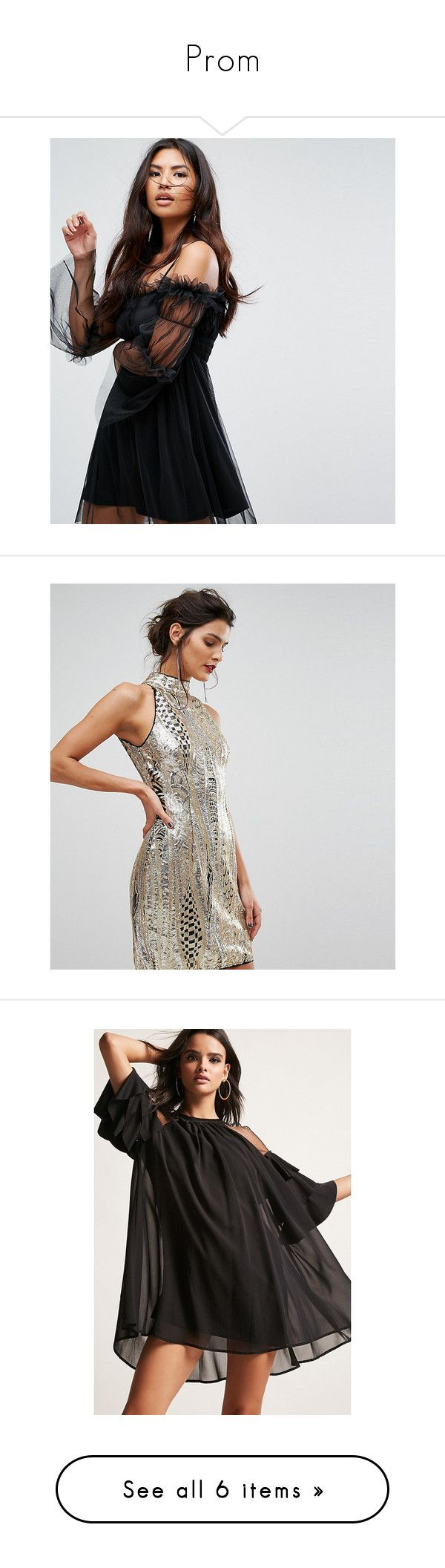 """""""Prom"""" by millenniumbby ❤ liked on Polyvore featuring dresses, black, strappy cami, stretch bodycon dress, sheer bodycon dress, cold shoulder cocktail dress, strappy bodycon dress, gold, short party dresses and gold sequin cocktail dress"""