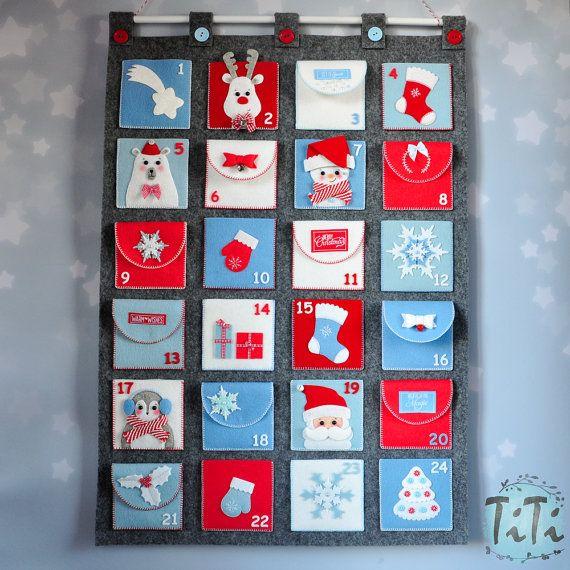 Felt Advent Calendar with pockets, Holiday decoration, Handmade christmas decorations, Family tradition, Pocket calendar Personalized