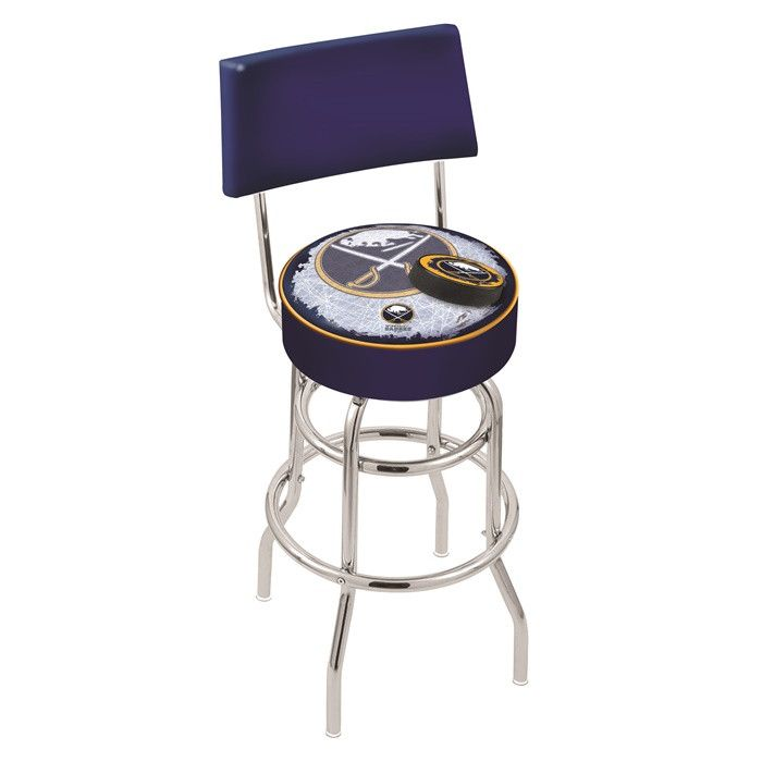 Buffalo Sabres NHL D2 Chrome Retro Bar Stool with Back. Available in 25-inch and 30-inch seat heights. Visit SportsFansPlus.com for details.