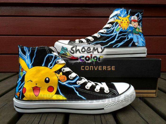 Pokemon Pikachu New Black High Top Converse Canvas Sneaker Fashion ...