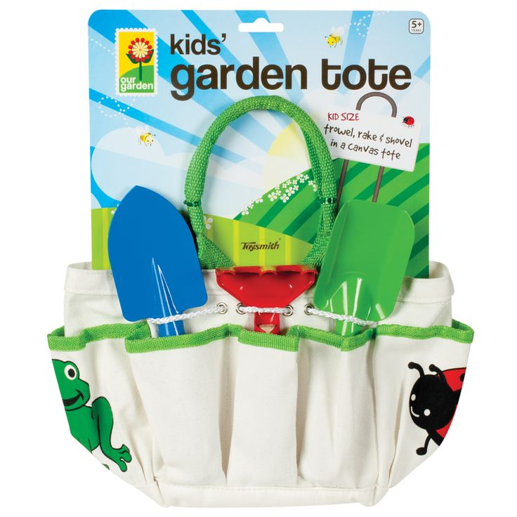 This 8-inch x 7.25 inch x 5.5 inch canvas tote has front and side pockets and includes a 6-inch hand rake, 8-inch shovel and 8.5 inch trowel. Kid size tote and tools helps make gardening a family even