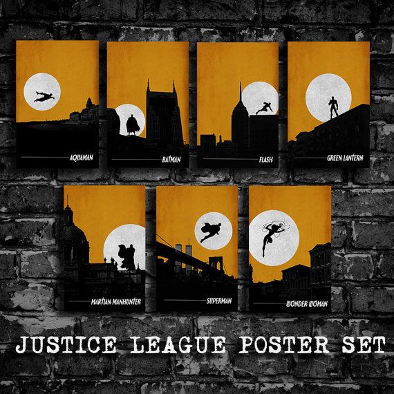 Justice League minimalist poster set comic poster by DEPdesigns, $49.99