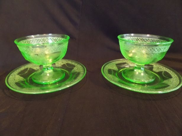 Vintage Glassware Green Depression Georgian Lovebirds Sherbet Cup and Saucer Federal Glass Company Antique Glass Cottage Farmhouse Retro by Buckeye Antiques on Gourmly