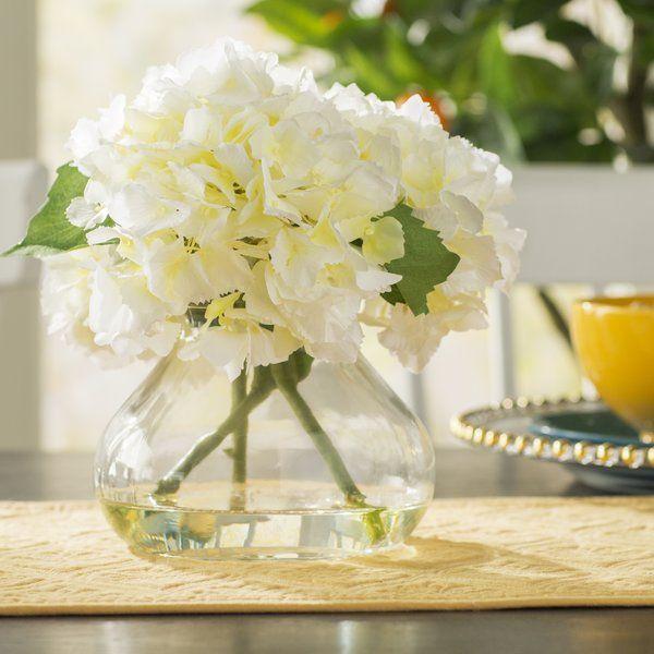 Blooming Hydrangea Floral Arrangement In Vase Hydrangea Vase Faux Hydrangea Round Glass Vase