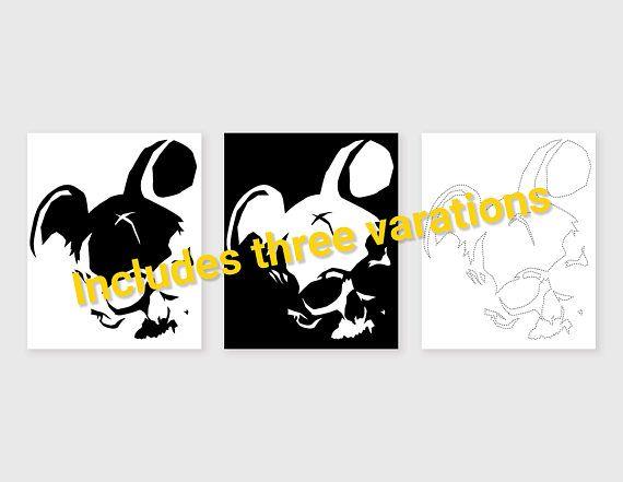 Evil Skull Mickey Mouse Pumpkin Carving Stencil/Pattern