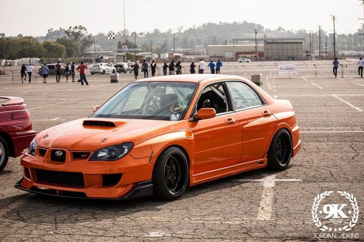 Widebody Subaru STI in Orange with deep wheels | Subaru ...
