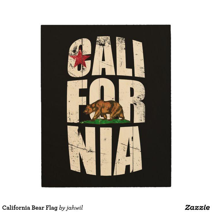 California Bear Flag Wood Wall Decor #california #californiaflag #bears #cali #flag
