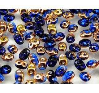 20gr Czech Two-Hole Seed Beads SuperDuo 2.5x5mm SAPPHIRE CAPRI GOLD
