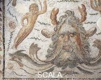 Arte romana Civilta romana, III secolo d.C. Mosaico raffigurante Il dio Oceano. Da Thaenae (Henchir Thina, Tunisia). Particolare.