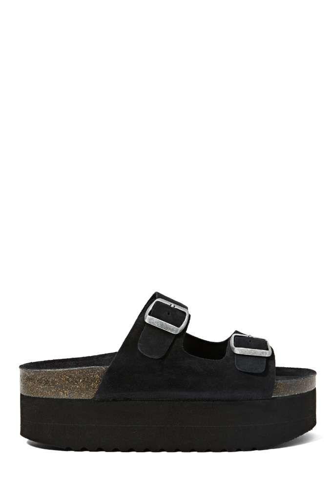 Jeffrey Campbell Aurelia Platform Sandal - Black Suede | Shop Shoes at Nasty Gal