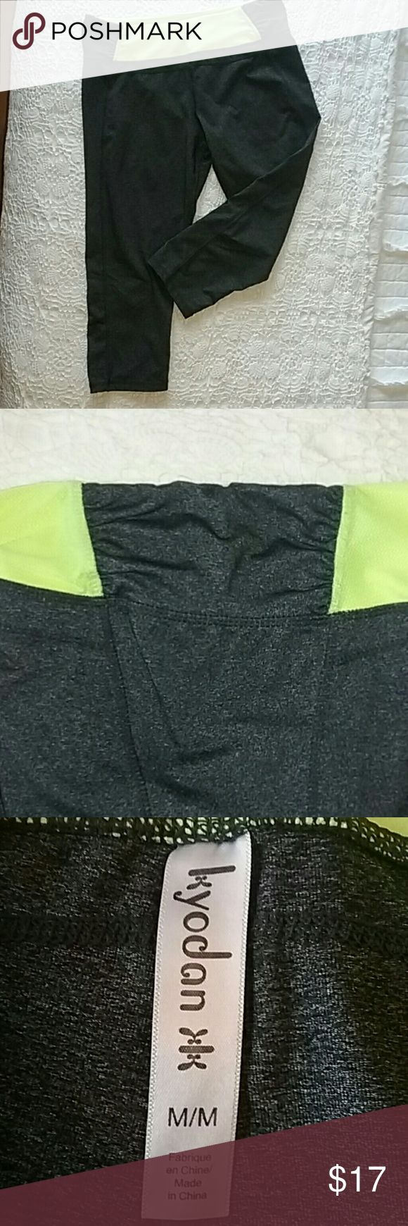 Kyodon yoga capris Cute and flattering on! Love the ruched sides. Color is charcoal and neon yellow/ green. Gently worn. kyodon Pants Capris