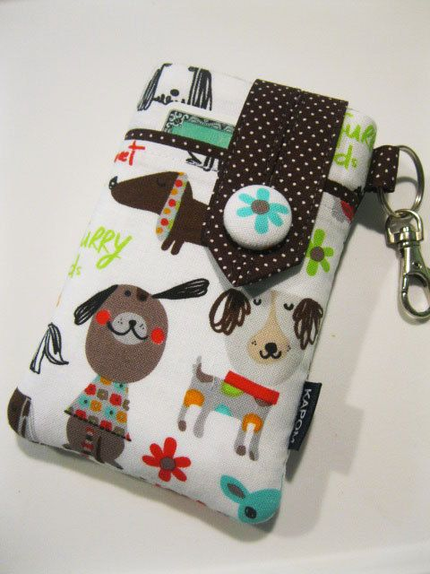 Fabric iPhone  case, iPod case, Handmade cell phone case, Smartphone case, Cute dogs on white, Button closure