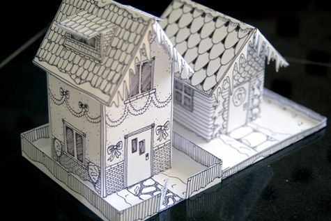 Winter-Time Paper House - Free PDF Printable + Instruction Tutorial. A blank house PDF download is available as well, if desired.