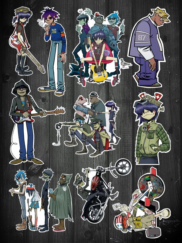10 pcs gorillaz band comic vinyl stickers for laptop skateboard luggage refrigerator 01