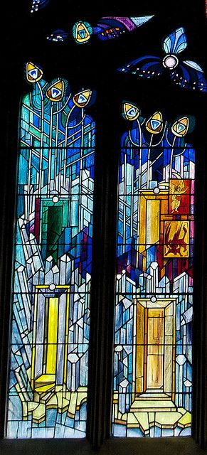 This stained glass window is in St. Katherine's Aisle of St. Michael's Parish Church in Linlithgow.  It was installed in 1992 to mark the 750th anniversary of the consecration of St Michael's.  Scottish artist Crear McCartney design and executed the window.  Each part of the window is symbolic of something.  I was given a sheet of paper with 1-1/2 pages of description.    The artist built his design round Pentecost in the tracery and the New Jerusalem in the lancets.  The number 12 plays a…