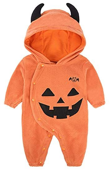 444e2dfe02da Toddler Baby Boys Girls Halloween Costume Pumpkin Hooded Romper ...