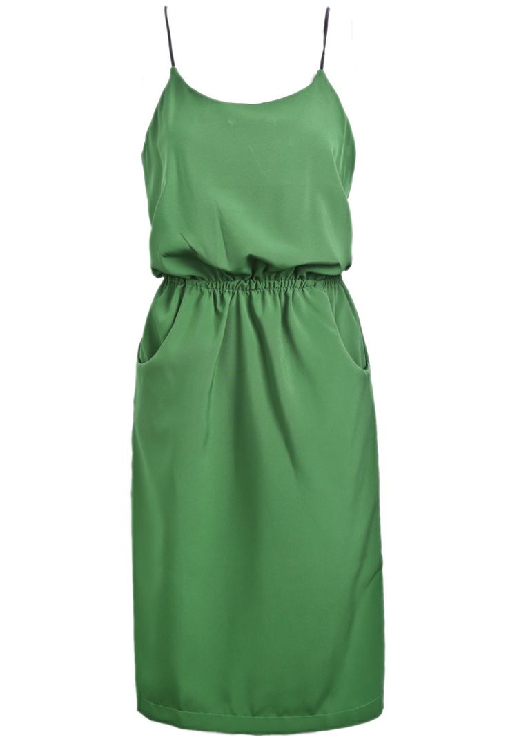 Green Spaghetti Strap Pockets Chiffon Dress - Sheinside.com