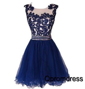 Cute navy blue tulle short prom dress with lace applique on the top, party dress 2016 #coniefox