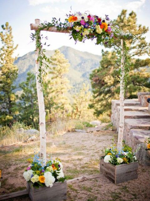 43 Outdoor Summer Wedding Arches | HappyWedd.com...like the idea of the base planters
