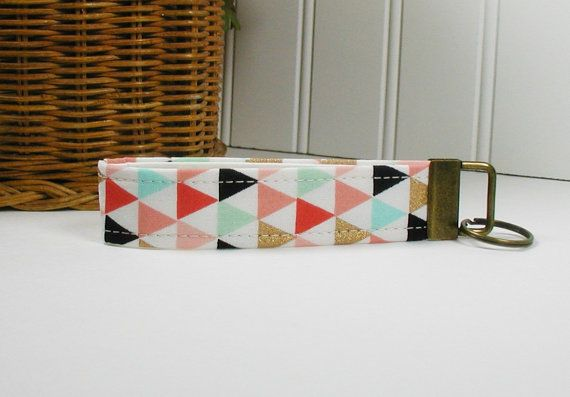 Key Fob Wristlet Keychain Fabric Key Fob ..Triangles in Coral Mint and Gold by Hot4Handbags