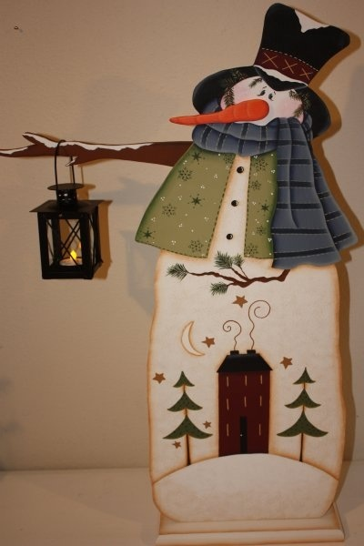 Painted wood snowman craft.