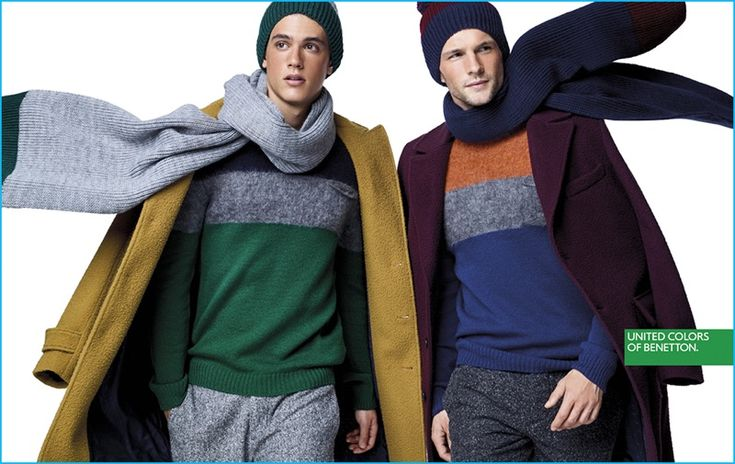 Xavier Serrano and Tomas Skoloudik layer in scarves, knitwear, and coats for United Colors of Benetton's winter 2016 campaign.