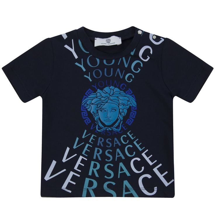 Young Versace Baby Boys Navy T-Shirt with Blue Logo and White Text Print