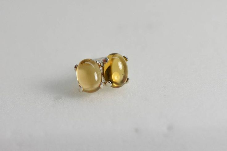 Citrine earrings stud | sterling silver, 7X5 Cabochon, Yellow earrings,November birthstone, SIlver jewelry, citrine studs, citrine jewelry
